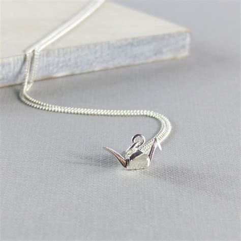Silver Origami Crane Necklace - silver origami crane necklace by evy designs