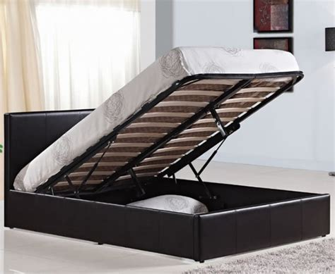 4 Foot Ottoman Bed Mallory Small 4ft Brown Faux Leather Ottoman Bed