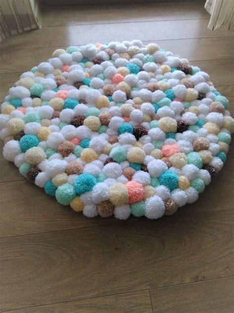 Handmade Pom Pom Decorations - pom pom rug handmade bathroom mat home decor pom pom baby