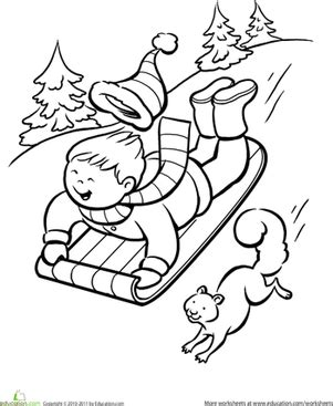 kleurplaat squirrel on a sunny day free printable winter sledding coloring page squirrel winter and child
