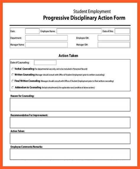 disciplinary form template employee reprimand form gse bookbinder co