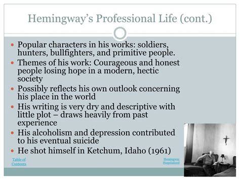ernest hemingway biography presentation ppt a biography of ernest hemingway powerpoint