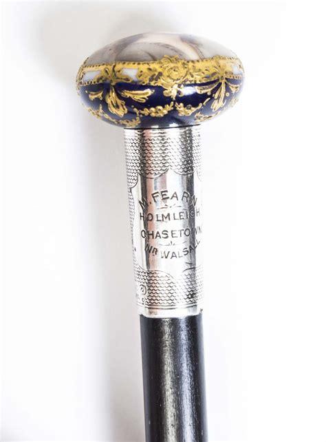 Regent Antiques   Walking sticks and canes   Antique Porcelain & Silver Mounted Walking Stick 1915