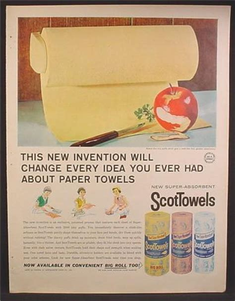 colored paper towels magazine ad for scottowels rolls wrapped in paper