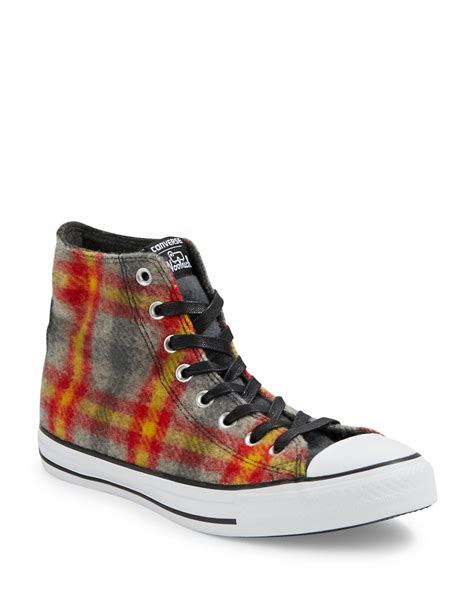 best converse sneakers lyst converse unisex plaid high top sneakers for