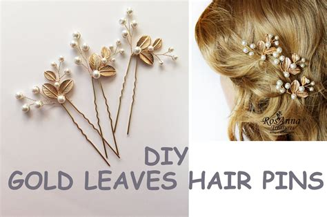 how to make hair jewelry easy diy bridal gold leaves hair vine pins bridal hair