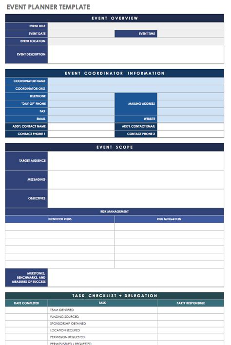 21 Free Event Planning Templates Smartsheet Event Organizer Template