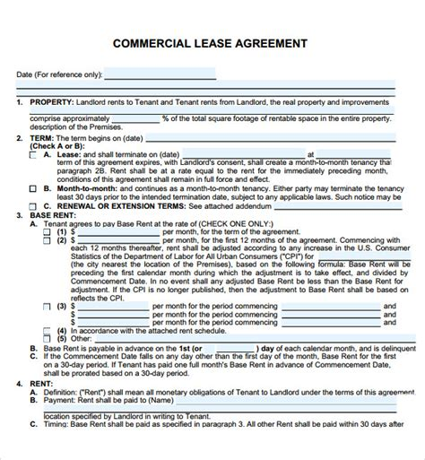 commercial rental agreement template free commercial lease agreement 7 free for pdf