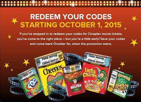 cineplex free movie offer general mills canada free cineplex movie pass offer