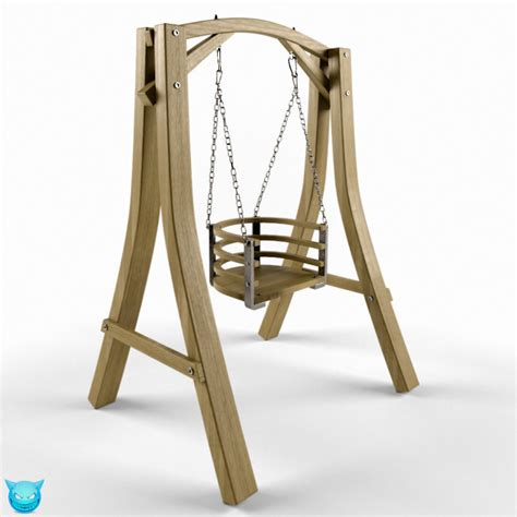 swing 3d model one seat wooden swing 15 3d model max obj cgtrader