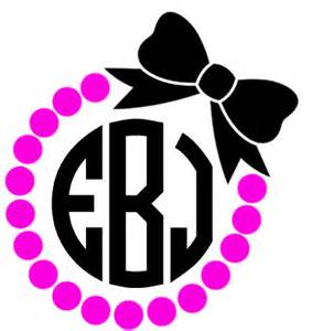 bow monogram pearl dot and bow circle monogram yeti decal laptop decal