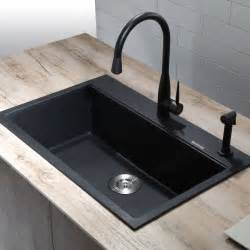 Kitchen Sink Black Granite Kraus Kgd 412b 31 1 5 Dual Mount Single Bowl Black Onyx Granite Kitchen Sink