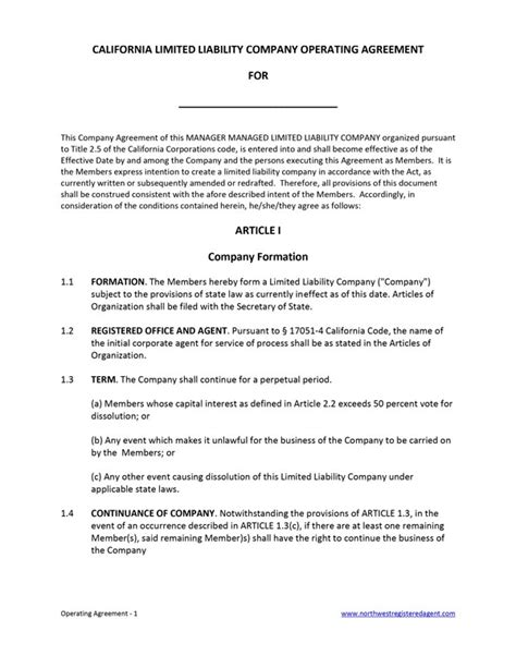 California Llc Operating Agreement Free Template California Llc Operating Agreement Template