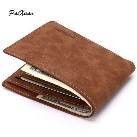 Pantofel Pria Trendy Leather Brown designer wallets slim brown leather genuine wallet money bag purse carteras cuzdan