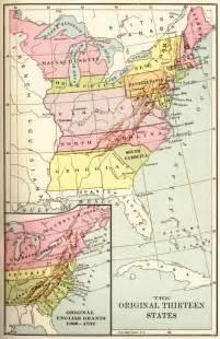 map of the thirteen original states