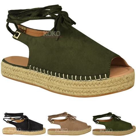 womens lace tie up strappy low flat canvas wedge