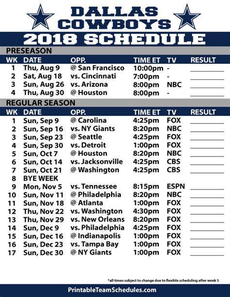 printable nfl schedule espn cowboys printable schedule 2015 2016 calendar template 2016