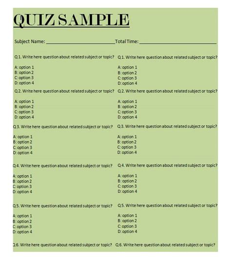 layout for quiz 5 best free business quiz templates free premium templates