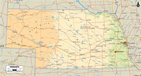 Physical Map of Nebraska   Ezilon Maps