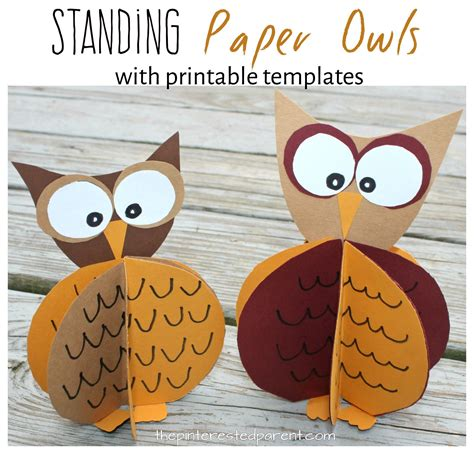 standing paper owl crafts the pinterested parent