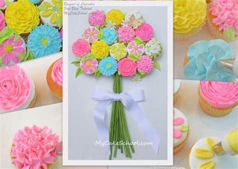 floral arrangement cupcake tutorial bouquet of cupcakes tutorial mycakeschool com my cake
