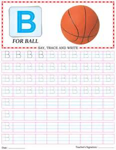 capital letter writing practice worksheet alphabet b