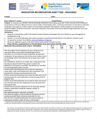 8 Sle Medication Reconciliation Forms Sle Templates Free Medication Reconciliation Template