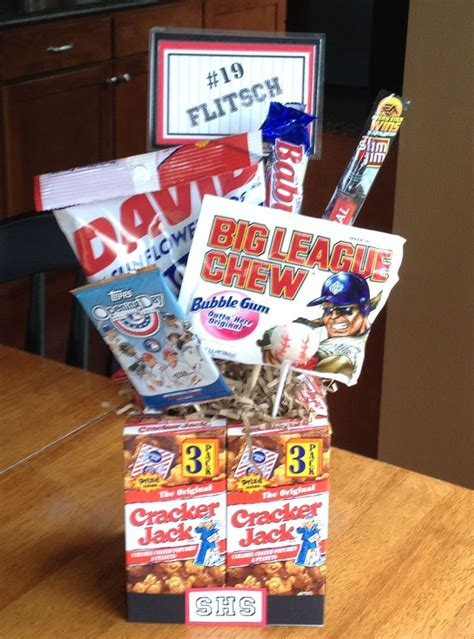 high school boy christmas ideas high school senior baseball gifts gifts banquet centerpieces cracker jacks and