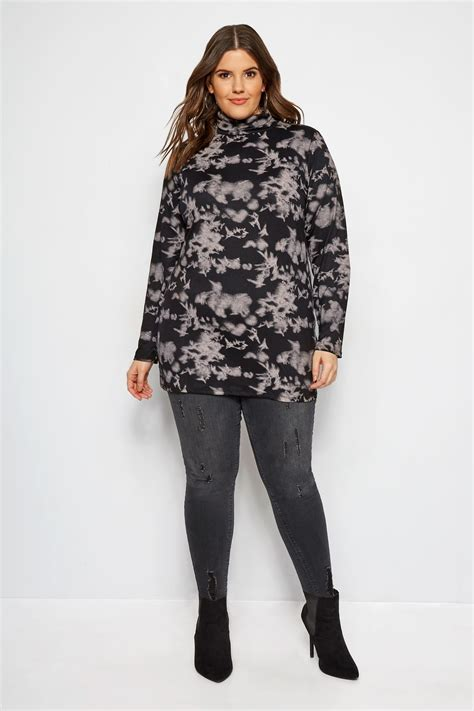 limited out 3 days in row limited collection black tie dye turtleneck plus size 16