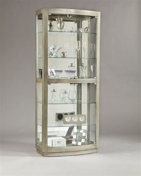 Curio Shelves Pulaski Platinum Glass Door Curio Cabinet 21396