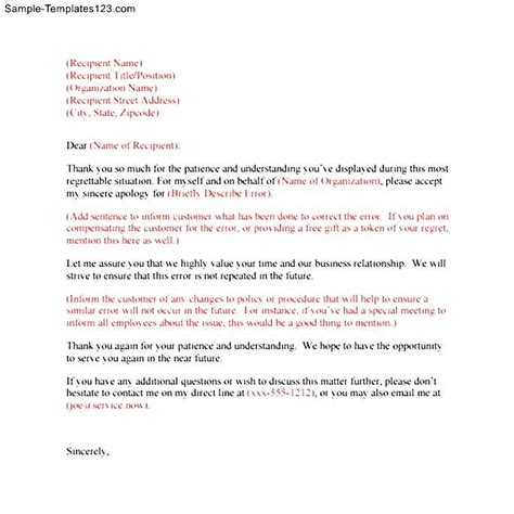 Heartfelt Apology Letter To Sincere Apology Letter Sle Templates