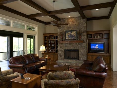 Amazing Wooden Beam Ceiling And Leather Couch Using Chic