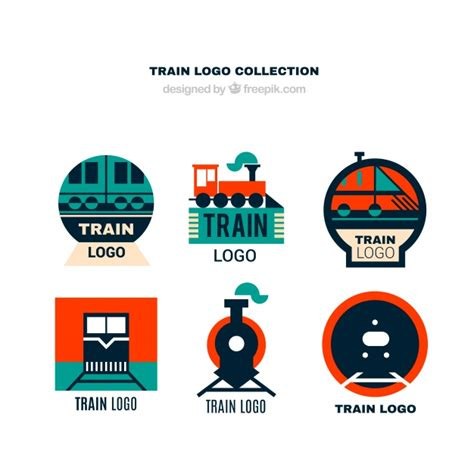 Collection of train logos in flat design Vector   Free