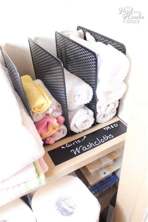 Organizing Towels In Closet by 32 Of The Most Genius Diy Projects To Keep Bath Towels