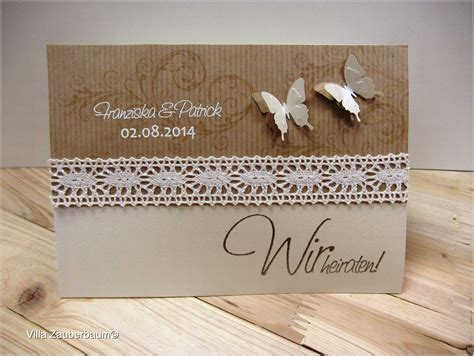 Einladungskarten Hochzeit Einfach by Bastelset F 252 R Die Hochzeitseinladung Vintage Butterfly