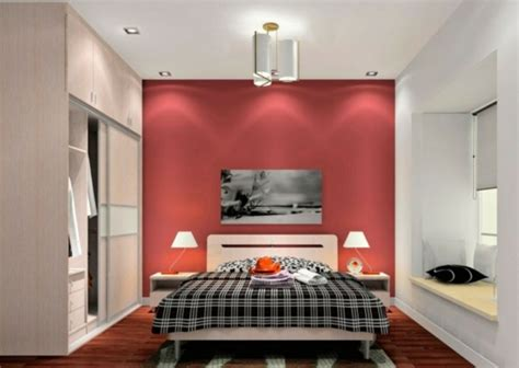 schlafzimmerwand leselen minimalistische rote schlafzimmer vibrierende rote farbe