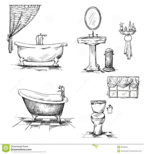 Bath Tub Shower Curtain bathroom interior elements hand drawn bathtub t stock