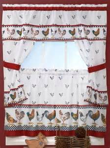 Chicken Kitchen Curtains Country Chicken Window Kitchen Curtain Set Valance 36 Quot Tiers Rooster Curtains Ebay