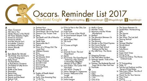 Oscar Nominations 2018 Printable List oscars 2018 printable best picture reminder list how