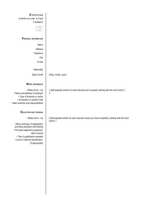 european curriculum vitae format exle format cv