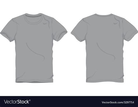 Men Gray Round Neck T Shirt Template Royalty Free Vector Grey T Shirt Template