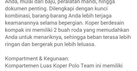 Harga Koper Merk Polo jual tas koper merk polo team kualitas nomor satu harga