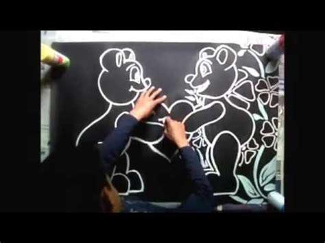 imagenes de amor para dibujar en cartulina dibujo de osos enamorados en pliego de cartulina negra