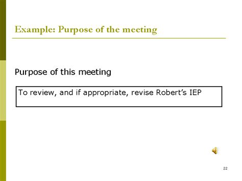 exle purpose of the meeting slide22
