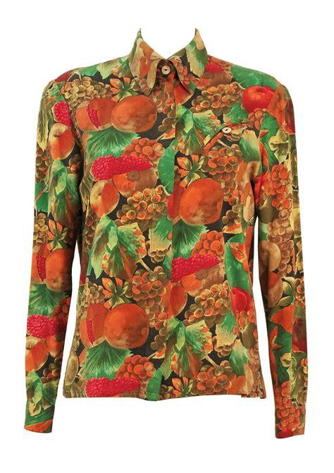 multi coloured l multi colour fruit print blouse m l reign vintage