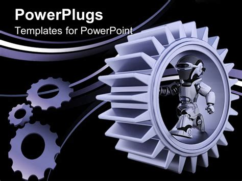 robotics ppt themes free download powerpoint template purple gear mechanism with robot and