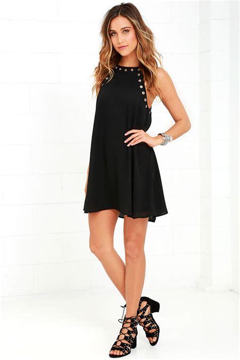 Amarsa Black Dress Dress Wanita lbd sleeveless black dress black grommet dress 49 00