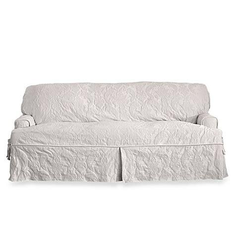sure fit matelasse damask loveseat cover buy sure fit 174 matelasse damask 1 piece t cushion loveseat