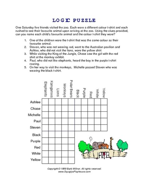 printable logic puzzles 5th grade printables logic problems worksheets beyoncenetworth