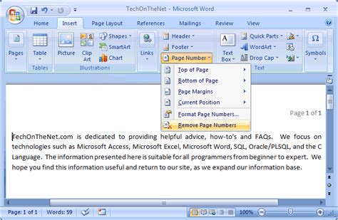 remove layout word ms word 2007 remove page numbers